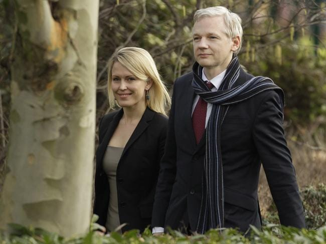 Lawyer Jennifer Robinson with Julian Assange in London in 2011. Picture: AP