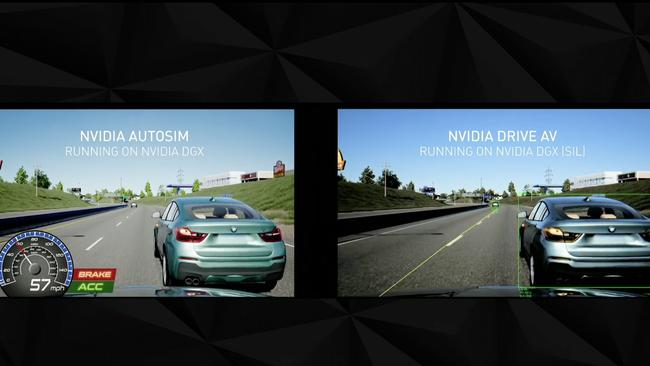 Nvidia has also developed software to simulate and replicate dangerous driving scenarios. Picture: Supplied.