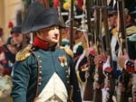 Napoleon speaks with his soldiers as extras take part in the reenactment of the Napoleonic Battle of Znojmo from 1809 in Znojmo, Czech Republic. Picture: AFP