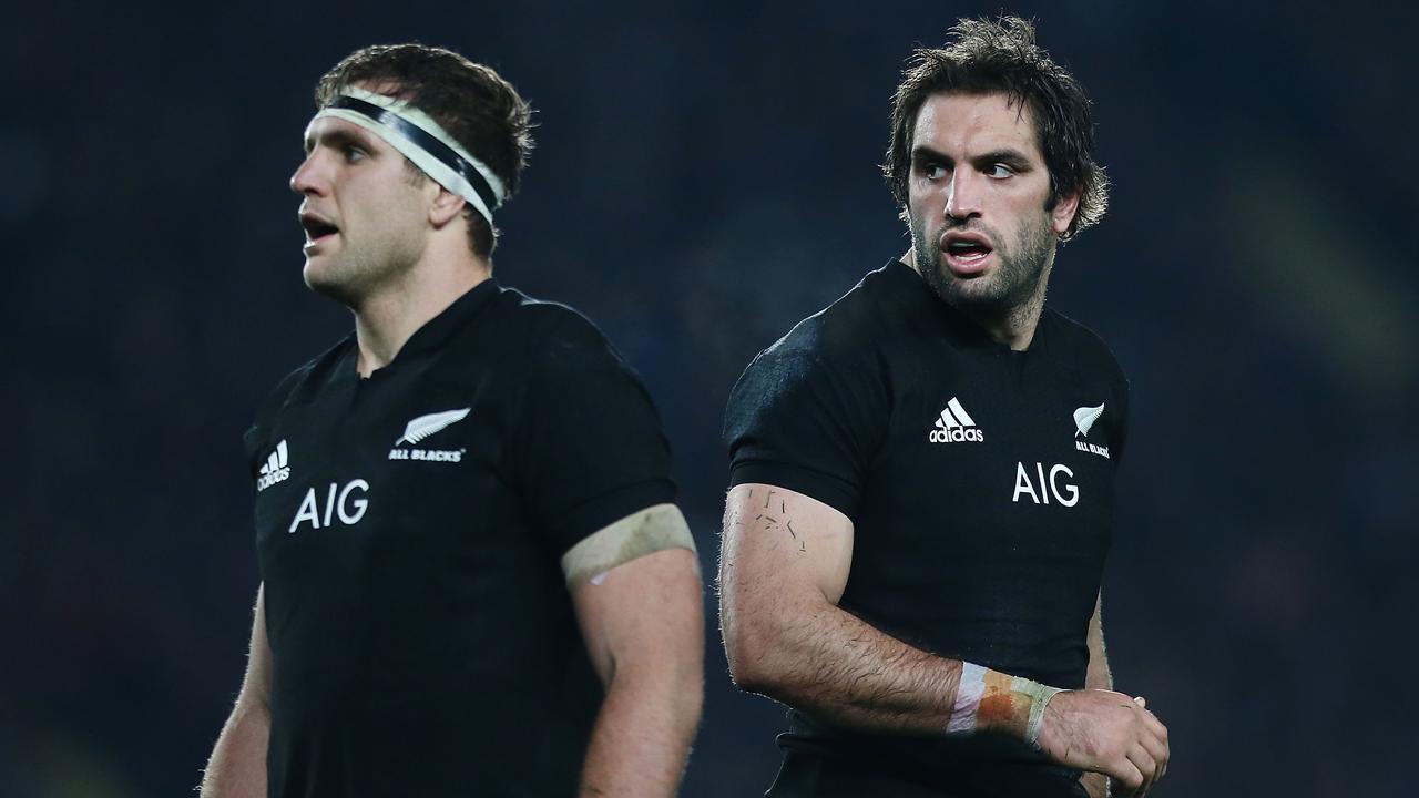 Luke Whitelock and brother Sam in action for the All Blacks.
