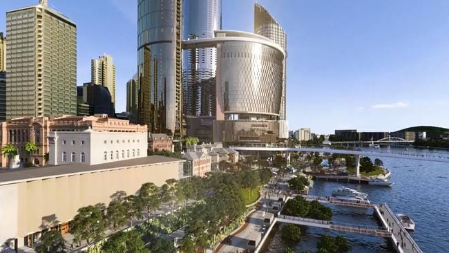 Artist impression of the Queens Wharf development underway in Brisbane.