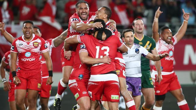 Tonga celebrate beating Australia