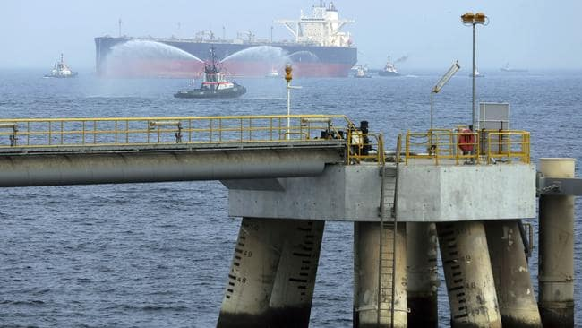 File shot of an oil tanker as it approaches the new jetty during the launch of the new $650 million oil facility in Fujairah, United Arab Emirates. Picture: AP/Kamran Jebreili