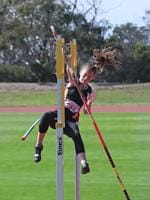 Zoe Laurenson competes in the pole vault at the 2020 Age Track and Field Championships at the Domain Athletic Centre in Hobart. Picture: LUKE BOWDEN