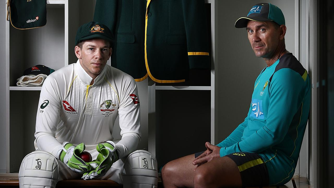 Test captain Tim Paine and coach Justin Langer.