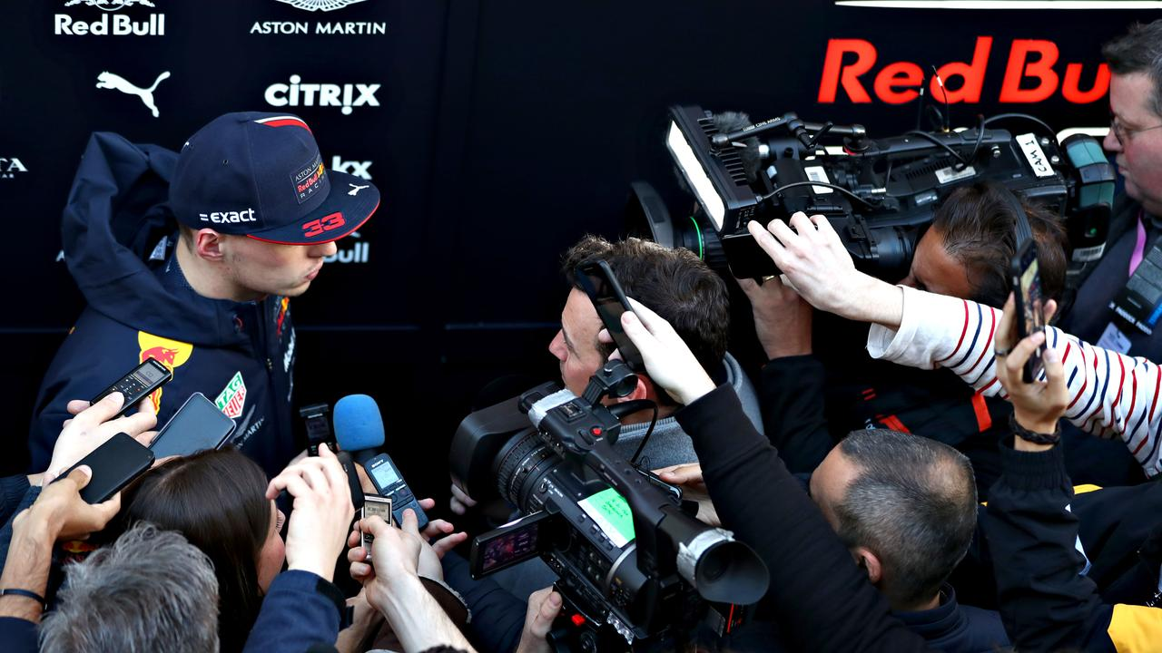 Max Verstappen talks to the media in the Paddock during day three of F1 Winter Testing.