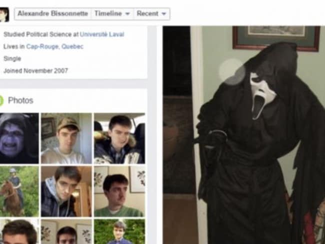 Mr Bissonnette's Facebook page before it was deleted. He posted a picture of himself dressed as the villain from the Scream horror movie franchise on Halloween.