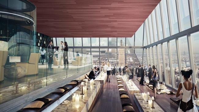 Hudson Yards observation deck lounge.