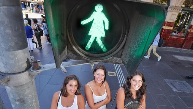 It's proposed that half of all Melbourne's pedestrian signals should feature women. Picture: Jason Edwards (digitally altered).