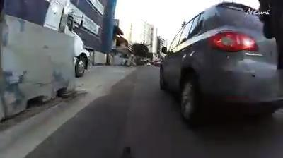 Cyclist near-miss reel
