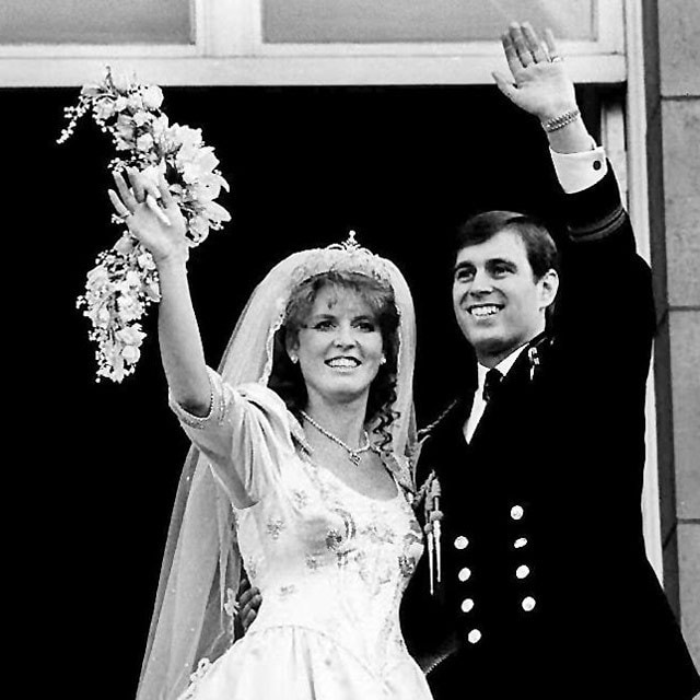 Princess Eugenie's parents, the Duke and Duchess of York, on their wedding day. Here you can see the York tiara. Image credit: AFP