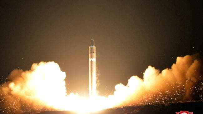 North Korea has come under international pressure to stop testing missiles. Source: Korean Central News Agency/Korea News Service via AP.