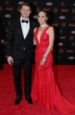 Geelong's Patrick Dangerfield and wife Mardi arrive at the 2015 Brownlow Medal Count.