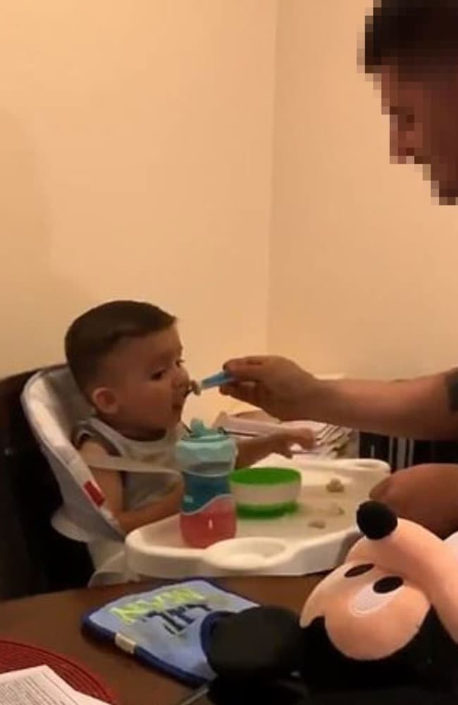 The bizarre technique resulted in the baby eating their food. Picture: Twitter
