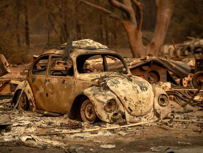 A burned out vehicle rests after the Delta Fire tore through a neighborhood in California on September 6, 2018. Picture: Josh Edelson/AFP