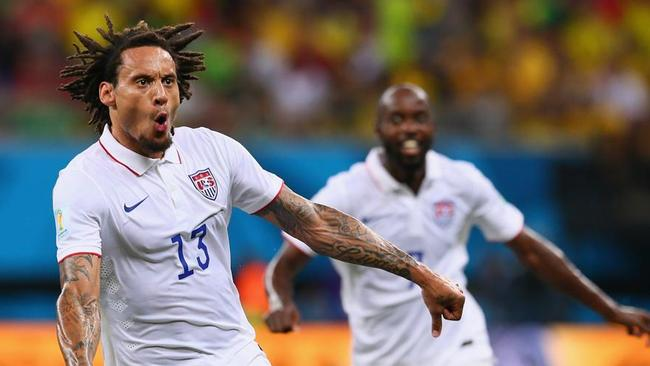 Jermaine Jones of the United States celebrates a scorcher against Portugal.