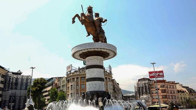 The Warrior on a Horse statue in central in Skopje that is modelled on Alexander the Great, a historical Greek figure. Picture: AFP Photo/Robert Atanasovski