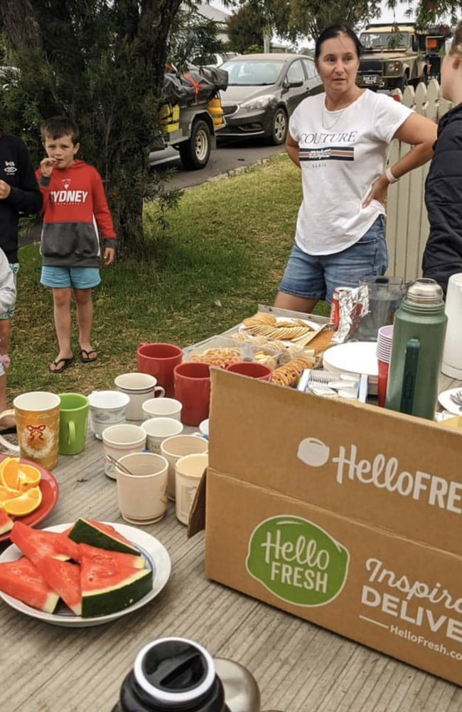 Emily Barton posted an image of her friend's roadside stall set up for tired, hungry motorists along the route. Picture: Twitter