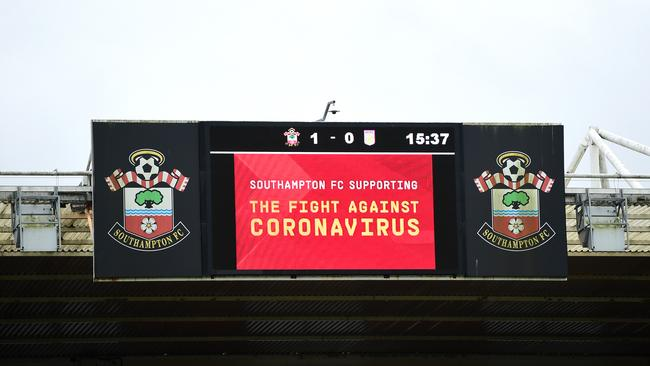 An LED screen shows Southampton's support against the coronavirus during the Premier League match between Southampton FC and Aston Villa at St Mary's Stadium on February 22, 2020 in Southampton, United Kingdom. Picture: Alex Broadway/Getty Images