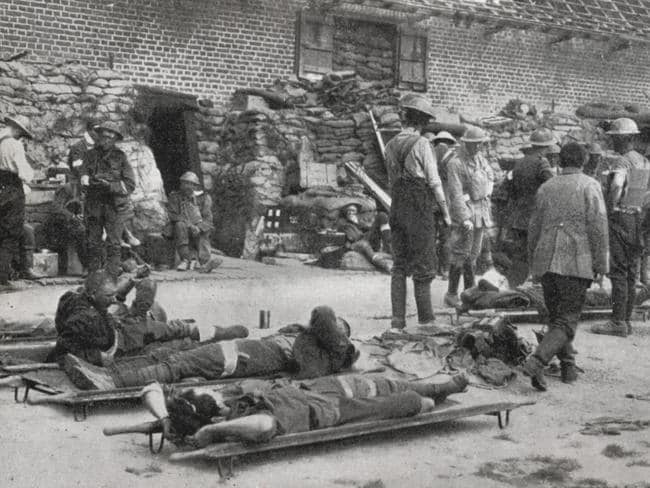 Wounded Australians at the 3rd Australian Division dressing station, on the first day of the battle for Messines, June 1917 Picture: National Library of Australia