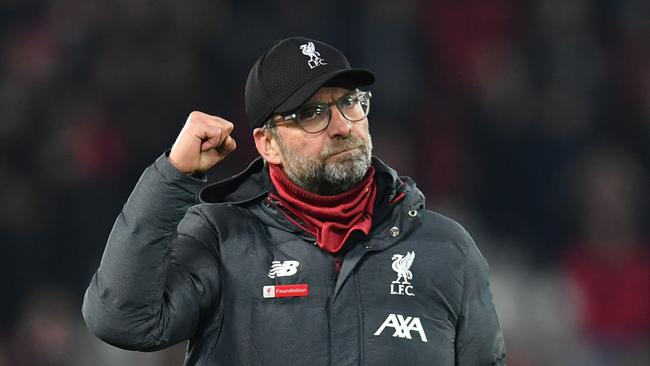 Liverpool manager Jurgen Klopp celebrates after his side's controversial win over Wolverhampton. Picture: AFP