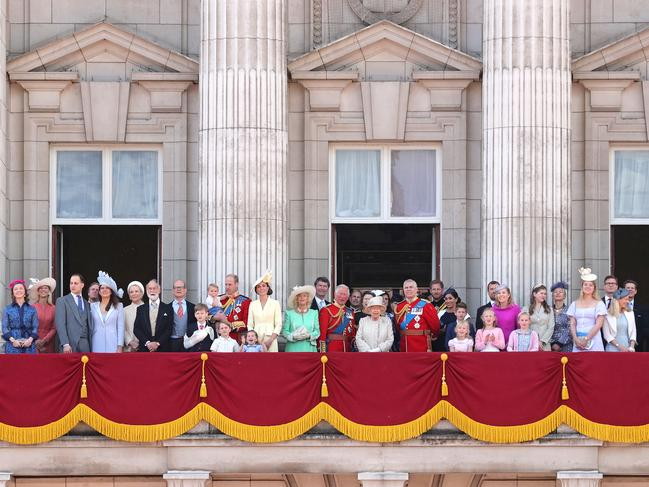 The royal family assembled on the Buckingham Palace balcony to watch the Trooping of the Colour. Picture: Chris Jackson/Getty Images