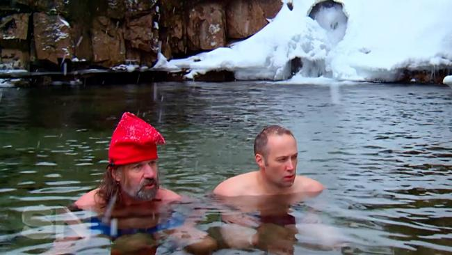 "Wim Hof, left, commonly nicknamed ""The Iceman"", exposes his body to extreme cold for health benefits. Picture: Supplied"