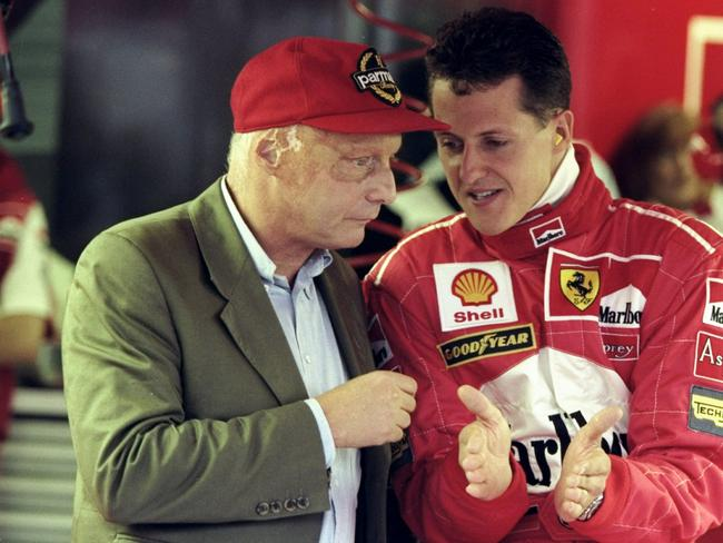 Michael Schumacher with Niki Lauda, who died last year. Picture: Clive Mason/Allsport