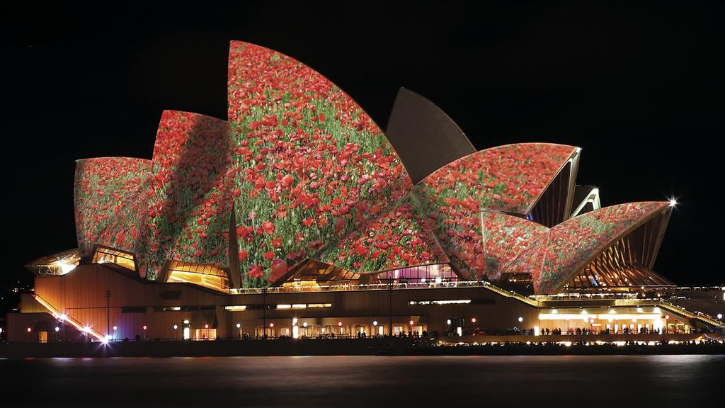 Image result for opera house sails for remembrance day 2018