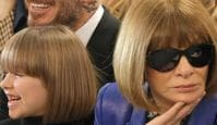 LONDON, ENGLAND - FEBRUARY 17: (L to R) Harper Beckham, David Beckham and Dame Anna Wintour attend the Victoria Beckham show during London Fashion Week February 2019 at Tate Britain on February 17, 2019 in London, England.  (Photo by David M. Benett/Dave Benett/Getty Images)