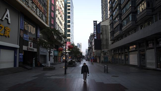 A man walks the street in Wuhan, China on February 13, 2020. Picture: Getty Images
