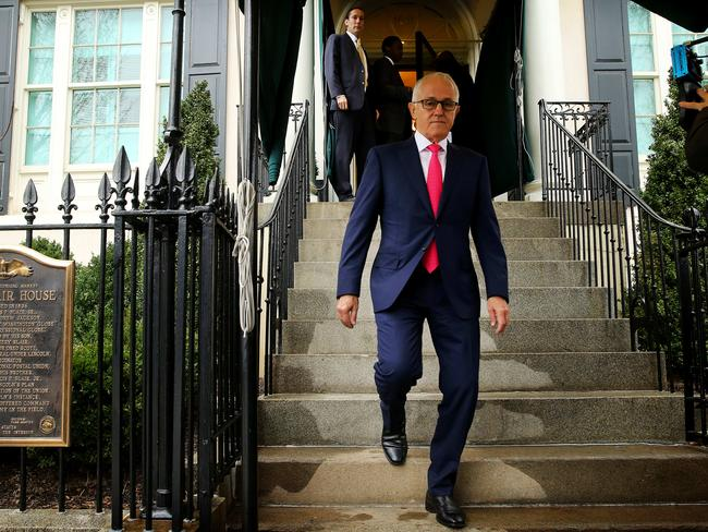 Prime Minister Malcolm Turnbull faces the media in Washington, DC, after Barnaby Joyce's resignation. Picture: Nathan Edwards