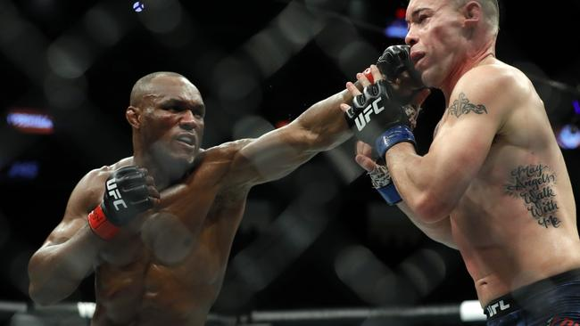 Kamaru Usman (left) is the current UFC welterweight champion. Picture: AFP
