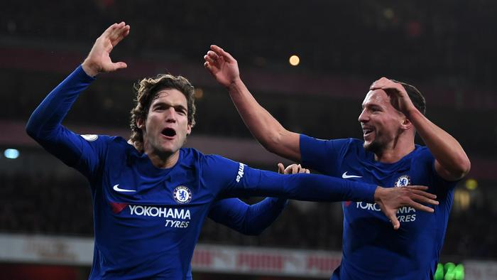 Marcos Alonso of Chelsea celebrates scoring his sides second goal