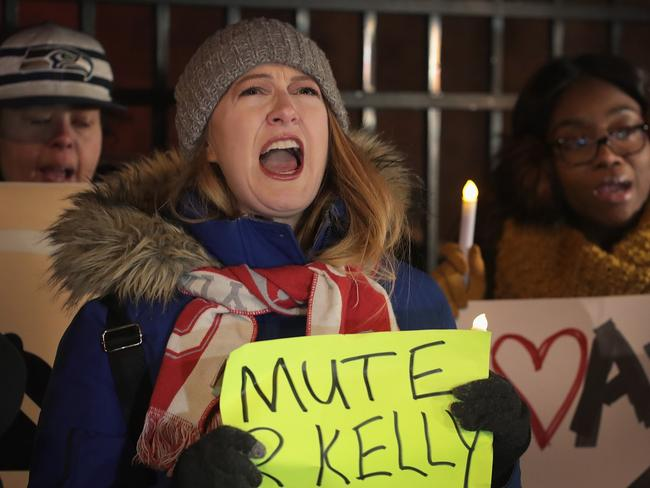 Protests erupted outside the studio of R Kelly in Chicago, Illinois after allegations of sexual abuse were raised in a new documentary. Picture: Getty Images