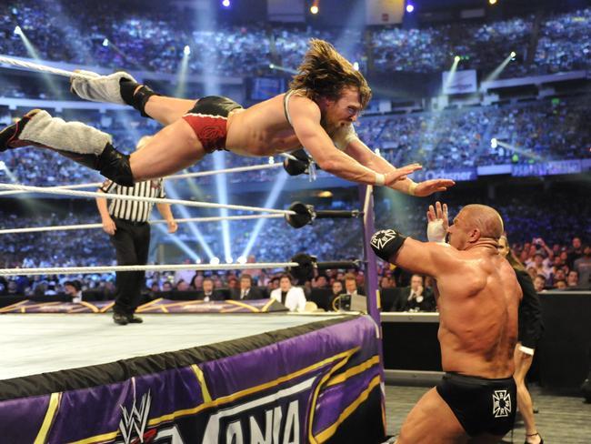 Daniel Bryan in action against Triple H at WrestleMania 30.