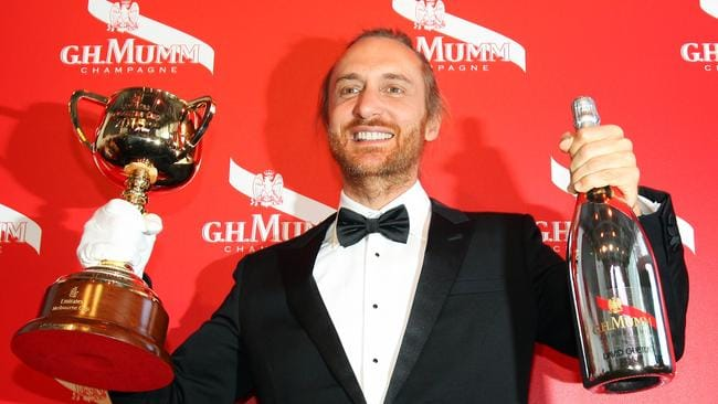 International DJ David Guetta in the Mumm Marquee in the Birdcage at Flemington Racecourse for the 2015 Emirates Melbourne Cup.