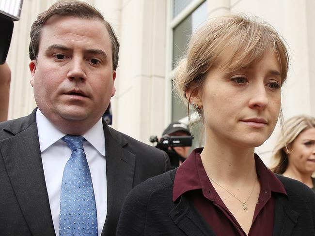 Actress Allison Mack departs a New York City court after a bail hearing in relation to the sex trafficking charges filed against her on May 4, 2018. Pictue: AFP