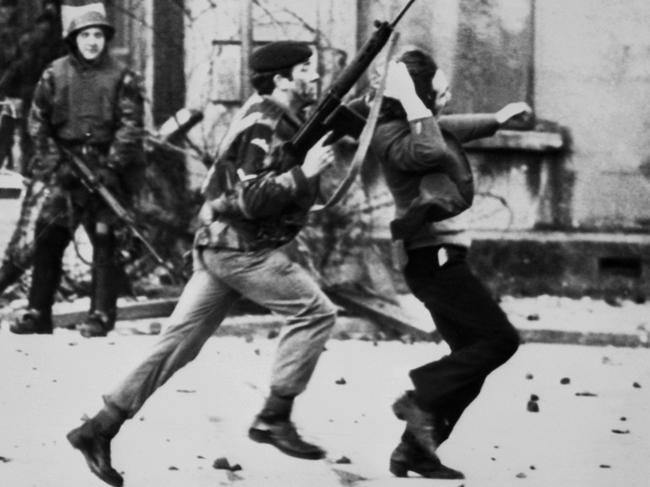 A soldier drags a Catholic protester during the Bloody Sunday incident in Derry, Northern Ireland in 1972.