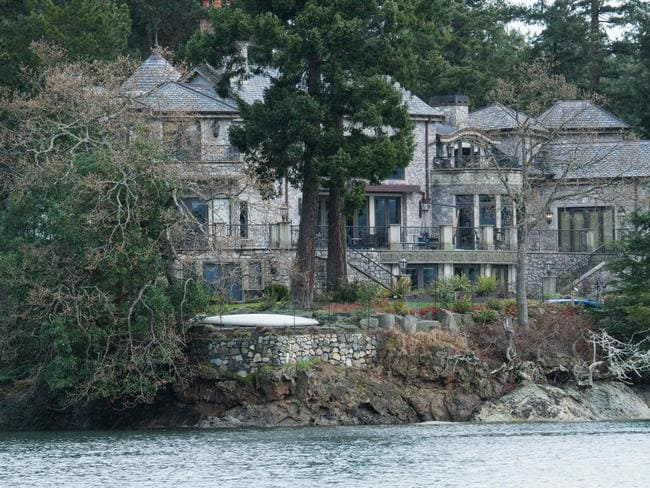 The couple have set up home – for now – in this waterfront mansion in British Columbia. Picture: AFP