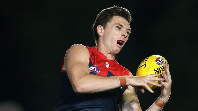 Melbourne's Jake Lever took several strong defensive marks. Picture: Michael Klein