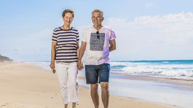 Diane Cowie, 66, and husband Buzz Cowie, 70, downsized from a five-bedroom home to a two-bedroom apartment on the Gold Coast this year and tipped the extra funds into their super accounts to help set up a comfortable retirement. Picture: NIGEL HALLETT