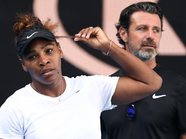 Serena Williams and coach Patrick Mouratoglou. Sources say Meghan's presence at the Open has him worried. Picture: AAP Image/Julian Smith