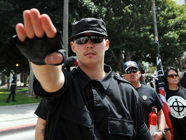 Members of the neo-nazi group, The American National Socialist Movement in front of the Los Angeles City Hall. .Picture: AFP