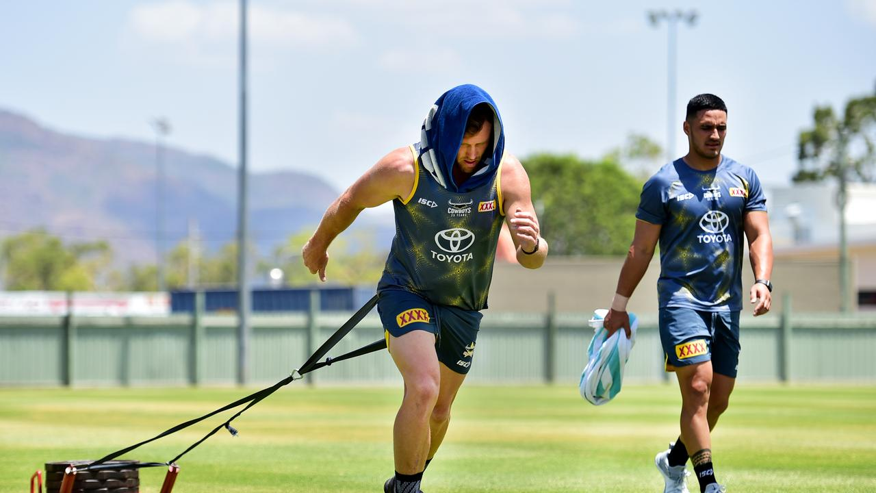 Gavin Cooper and Valentine Holmes training in the NRL pre-season. Picture: Alix Sweeney