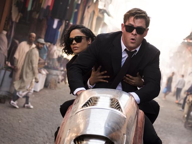 Chris Hemsworth and Tessa Thompson in a scene from Men In Black: International.