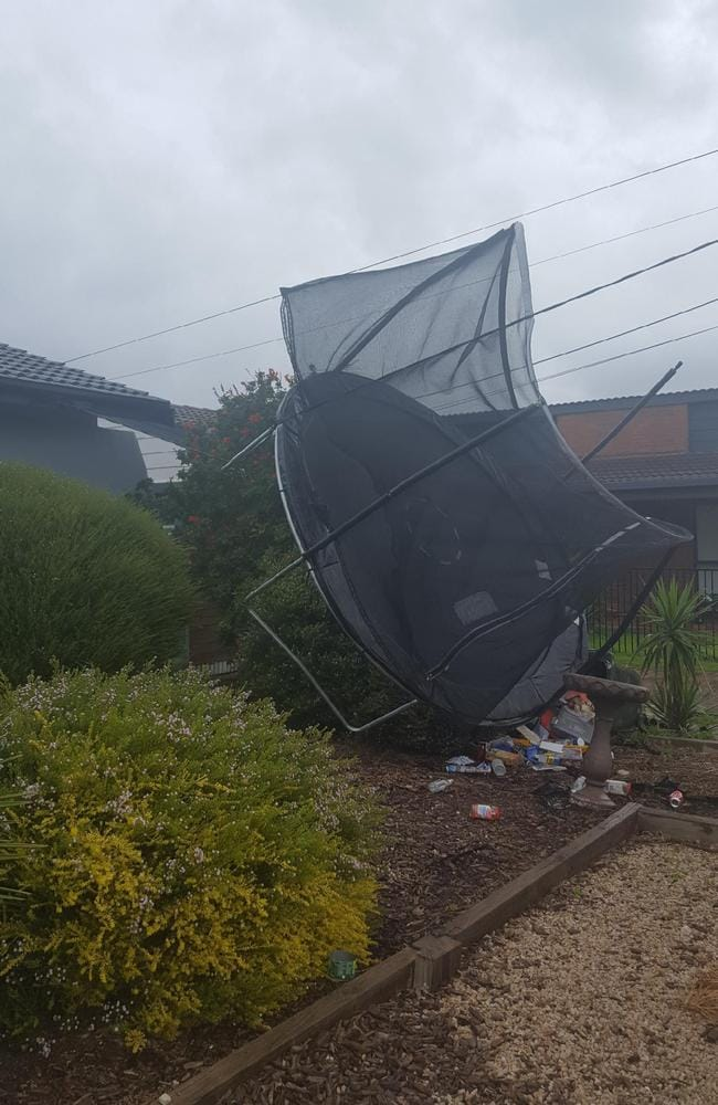 A trampoline caught on power lines at Neptune Rd, Seaford. Picture: Dwan Williams