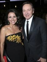 Julia Louis-Dreyfus, left, and Kevin Spacey pose in the audience at the 69th Primetime Emmy Awards on Sunday, Sept. 17, 2017, at the Microsoft Theater in Los Angeles. Picture: AP