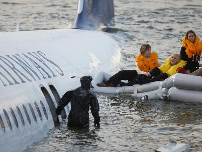 Passengers are rescued after a US Airways plane landed in the Hudson River in New York on January 15, 2009. Picture: Supplied