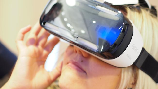 View master ... the Samsung Galaxy Note 4 in use with the Samsung Gear VR headset. Picture: Jennifer Dudley-Nicholson